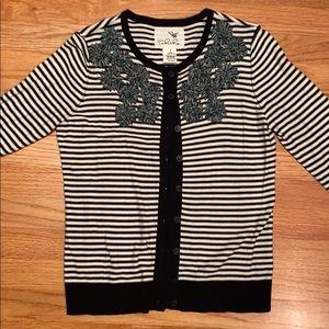 Anthropologie Tabitha stripe embellished cardigan